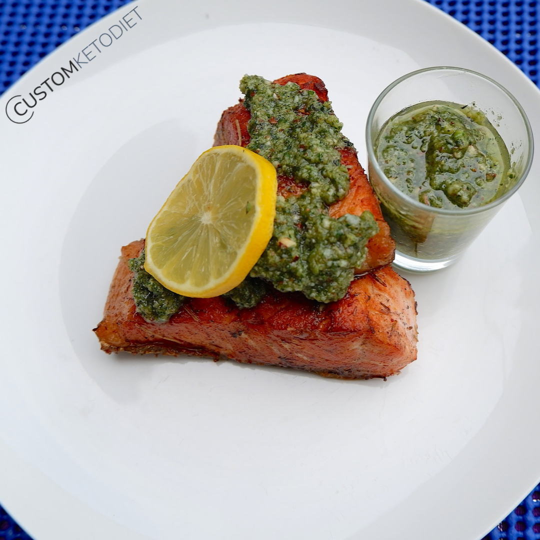 Easy Keto Recipes: Keto Salmon with Chunky Basil Pesto